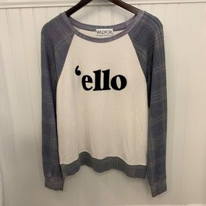 Wildfox 'ello Plaid Sleeve Sweater